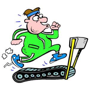 cartoon of man doing cardio