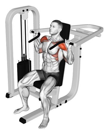 overhead machine press shoulder workout