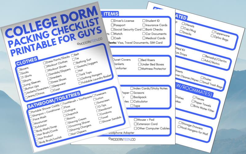 College Packing List for Guys Printable