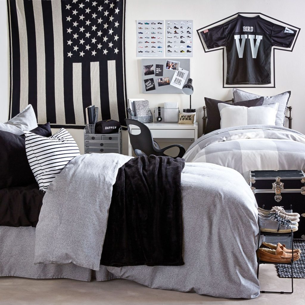 Black and Grey Dorm Room Ideas for Guys