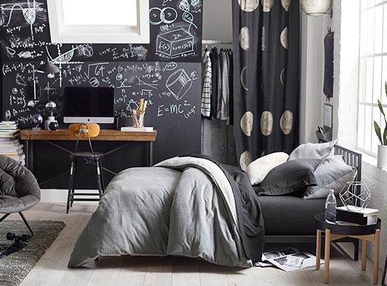 Modern black dorm room