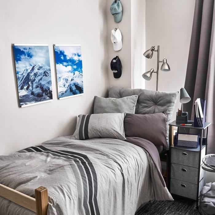 Simple Grey Dorm Room Bed
