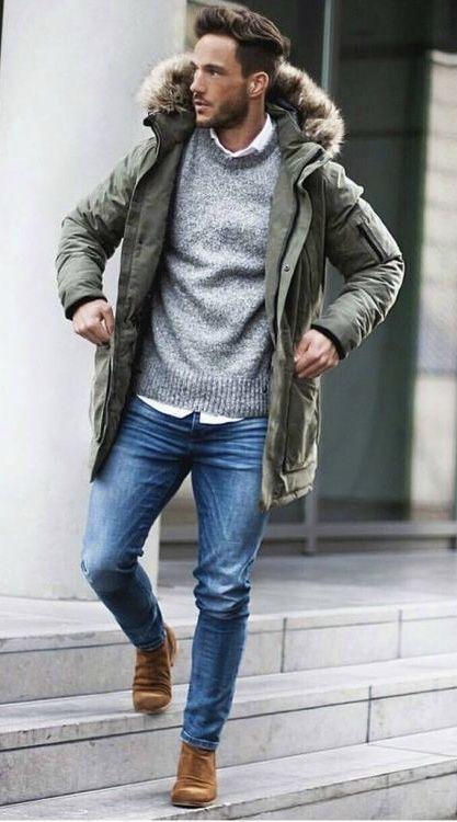 Fur hooded parka jacket winter outfits men