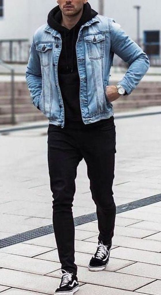 Denim jacket outfit for guys