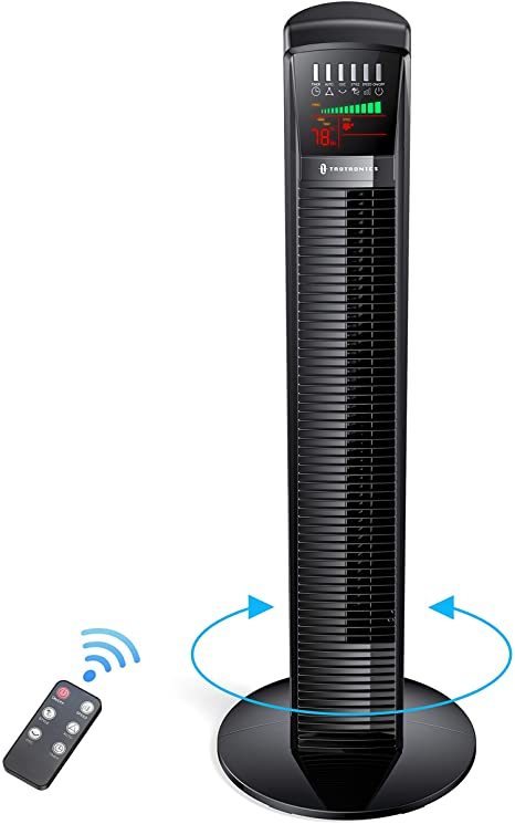 TaoTronics Tower Fan, 65°Oscillating Cooling Fan Powerful Floor Fan with Remote