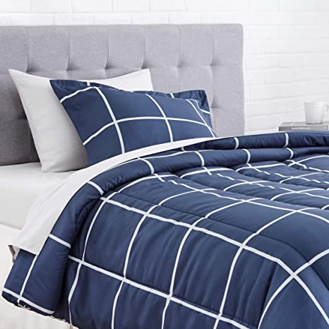 navy and white college dorm bedding set