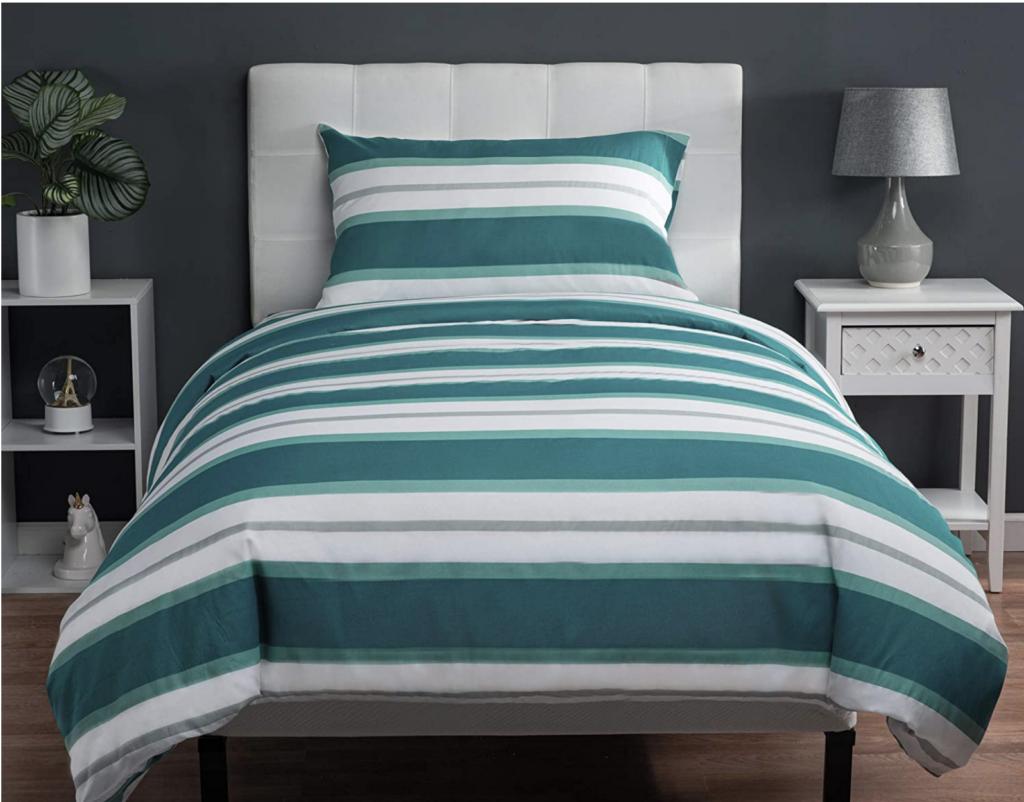 striped blue lagoon dorm bedding