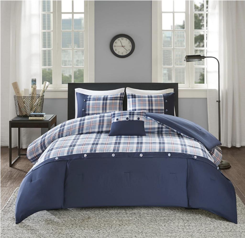 plaid blue dorm bedding