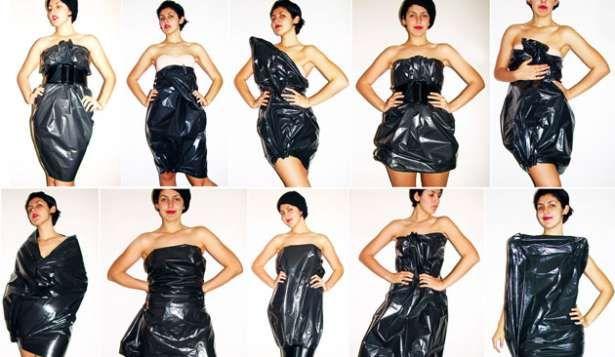 DIY trash bag halloween costume dress