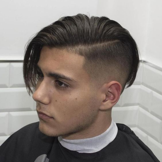 long hair side swept undercut